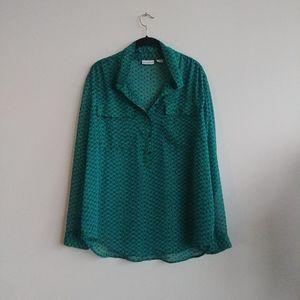 Liz clairborne jewel green button down blouse xl